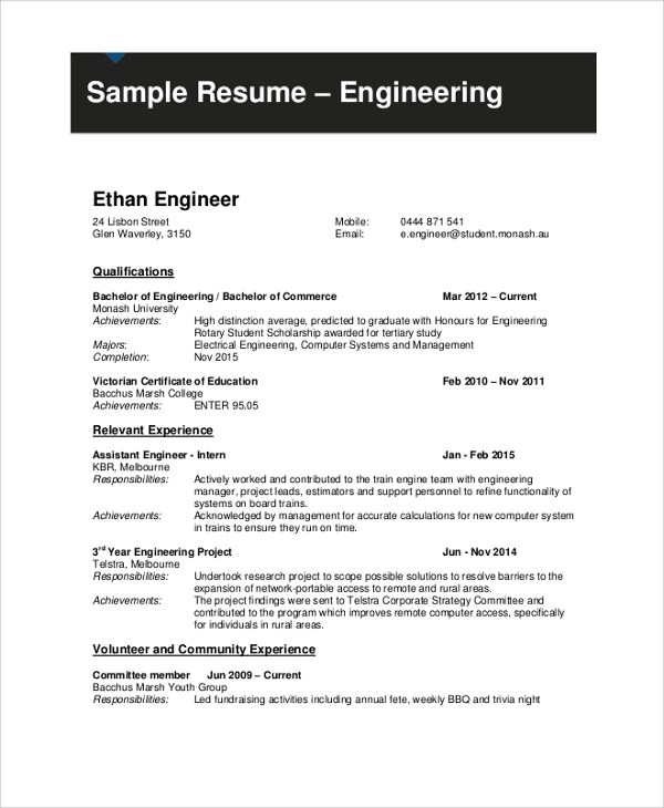 Sample Student Resume - 9+ Examples in PDF, Word - engineering student resume
