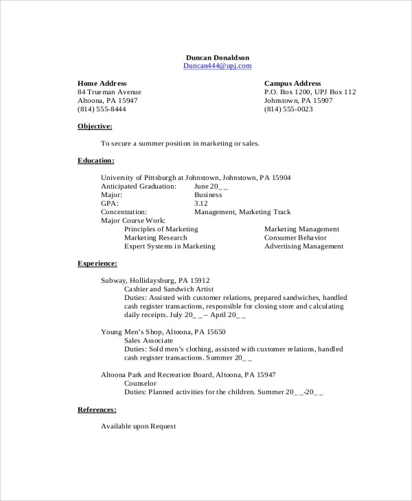 marketing student resume - Paso.evolist.co