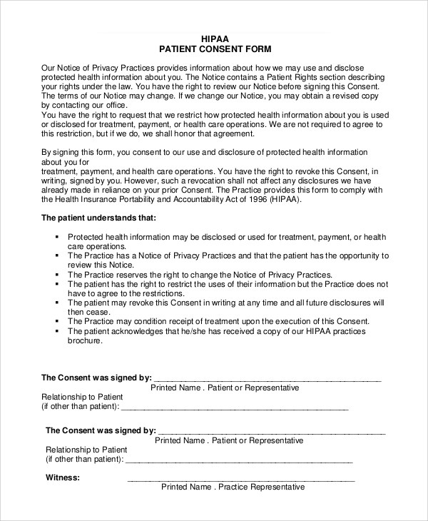 Sample Hipaa Form - 9+ Examples in PDF, Word - hipaa consent forms