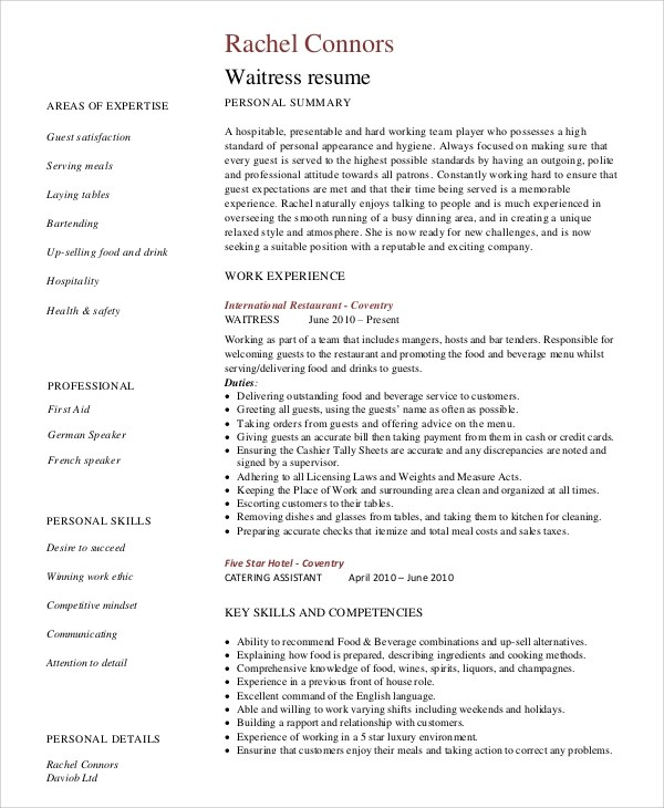 Sample Server Resume - 7+ Examples in Word, PDF