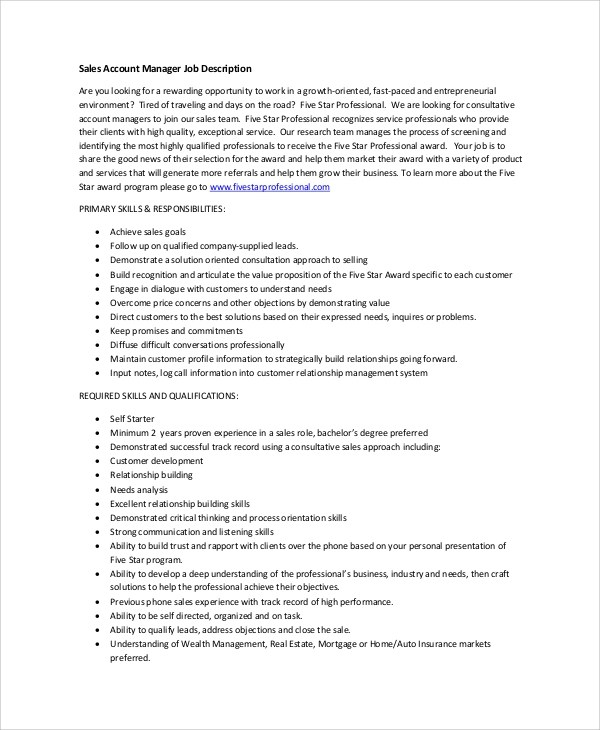 Sample Account Manager Job Description - 7+ Examples in PDF - account management job description