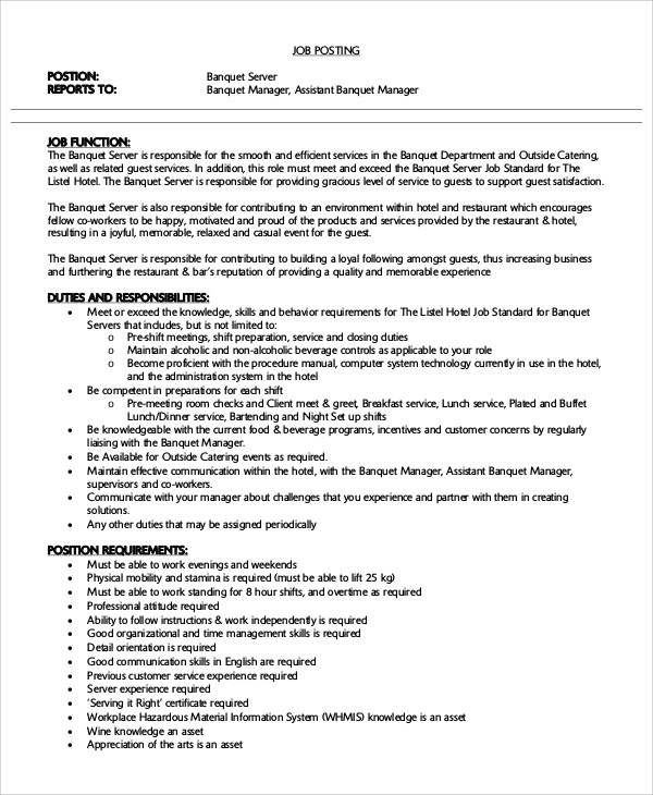 Modern Resume Templates 64 Examples Free Download Sample Server Resume 7 Examples In Word Pdf
