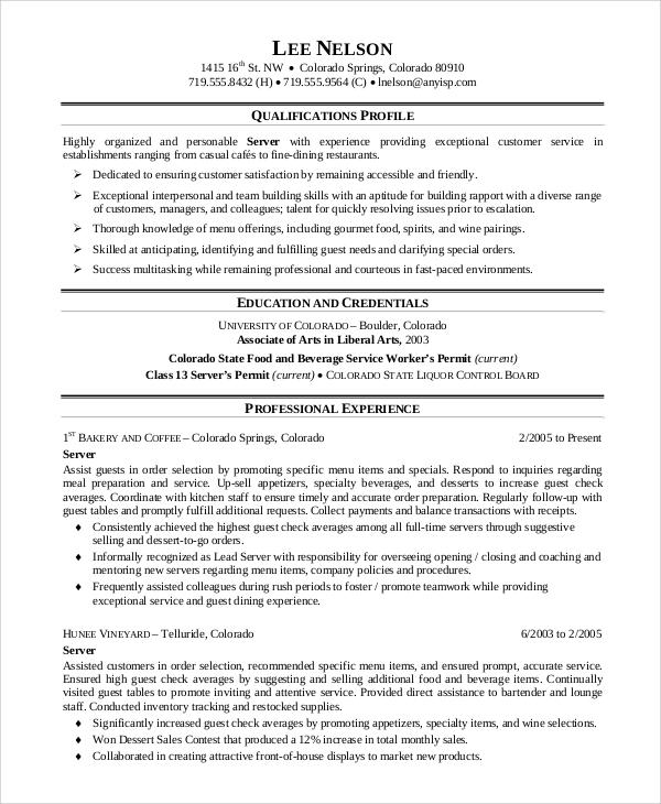 Sample Server Resume - 7+ Examples in Word, PDF
