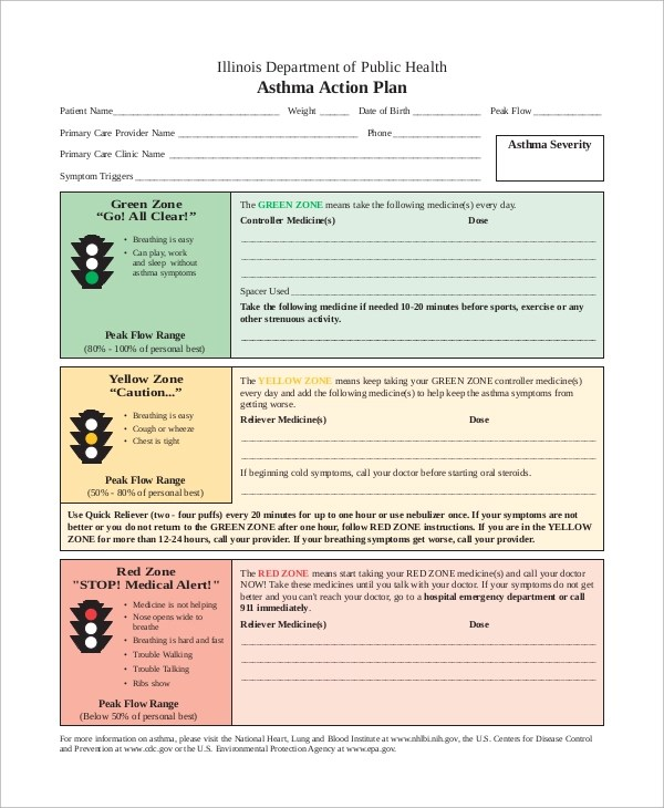9+ Asthma Action Plan Samples Sample Templates