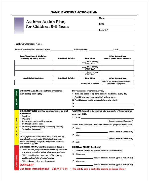 Sample Asthma Action Plan - 9+ Examples in Word, PDF - sample asthma action plan