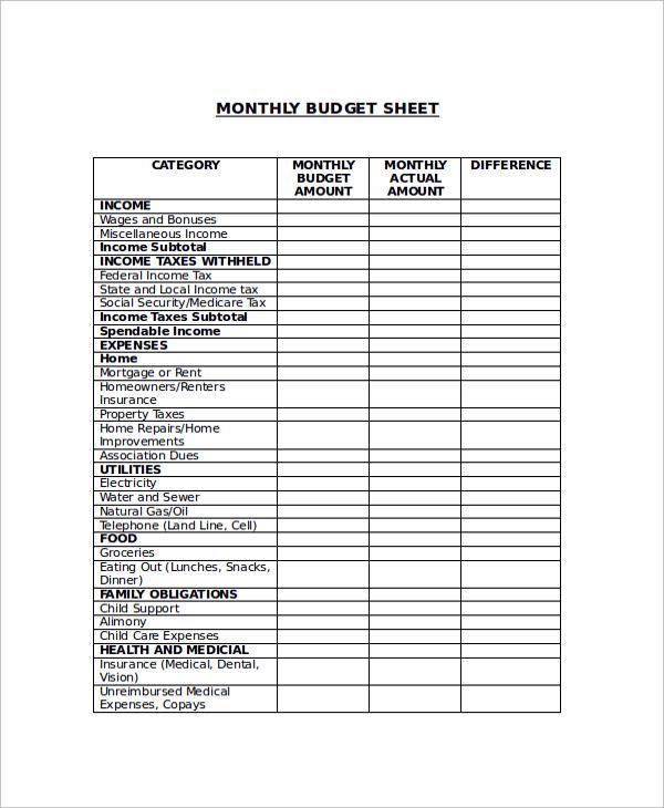 budget sheet pdf