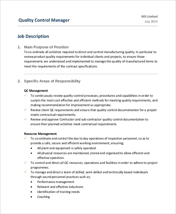 Sample Controller Job Description - 7+ Examples in Word, PDF - carpenter job description