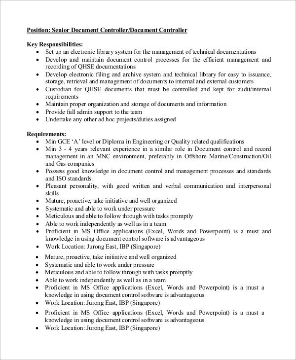 Sample Controller Job Description - 9+ Examples in Word, PDF