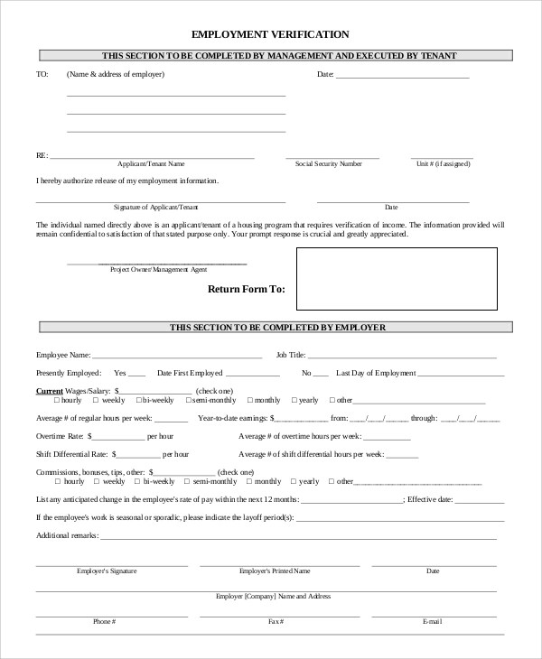 Verification of Employment Forms - income verification form