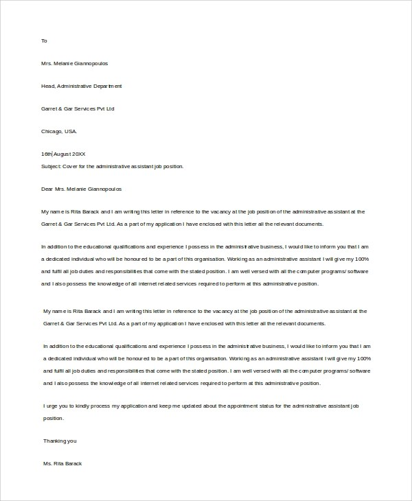 Sample Administrative Assistant Cover Letter - 7+ Examples in Word, PDF