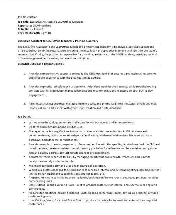 Sample CEO Job Description - 8+ Examples in PDF, Word