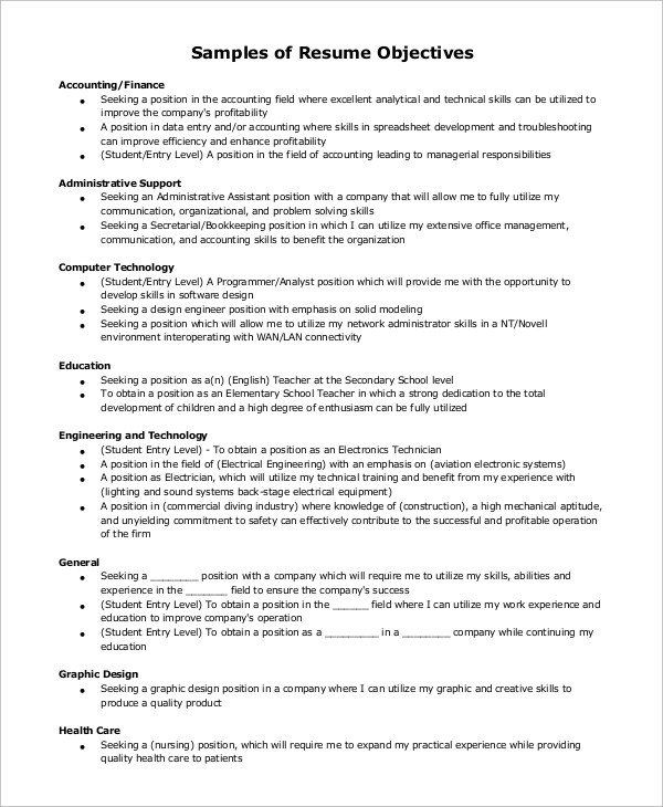 7+ Sample Resume Objective Examples Sample Templates