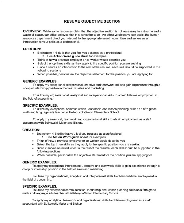 7+ Sample Resume Objective Examples Sample Templates - objective portion of resume