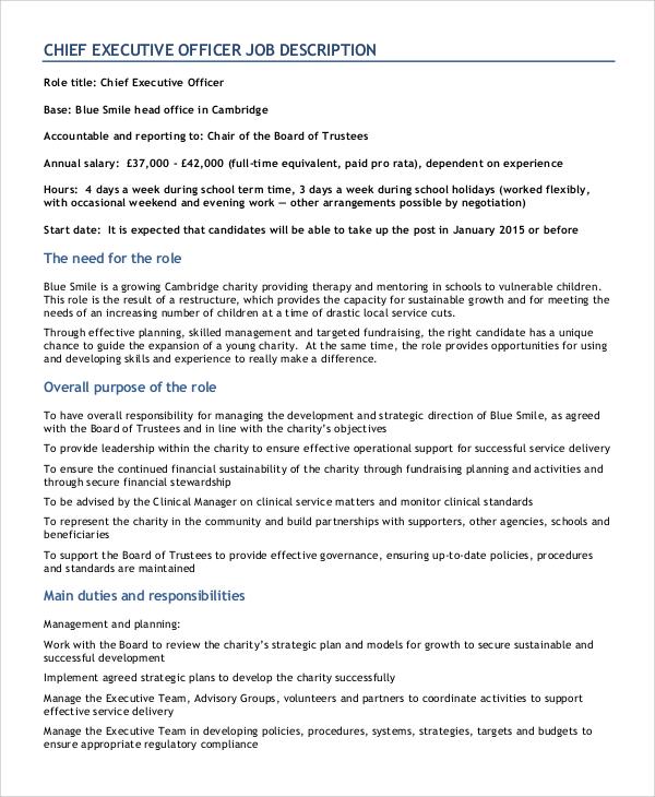 8+ CEO Job Description Samples Sample Templates - chief executive officer job description
