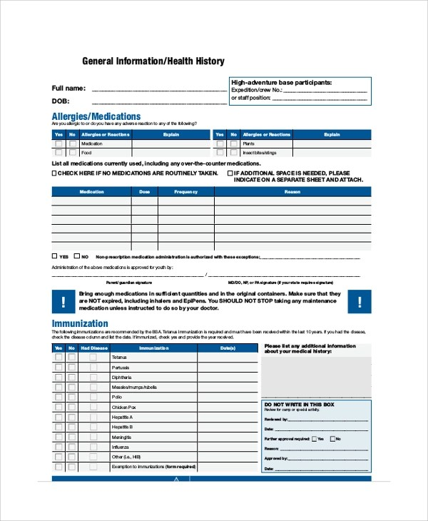 Sample BSA Medical Form - 8+ Examples in PDF, Word - bsa medical form