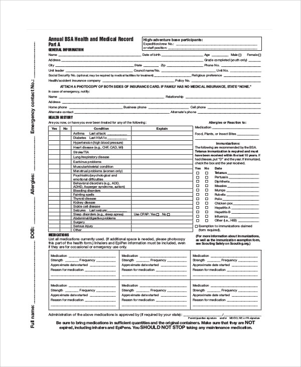 Medical Record Forms Template  Medical Record Form Template