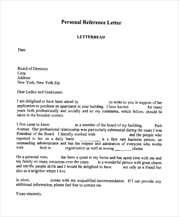 7+ Personal Reference Letter Sample Sample Templates - personal reference sample