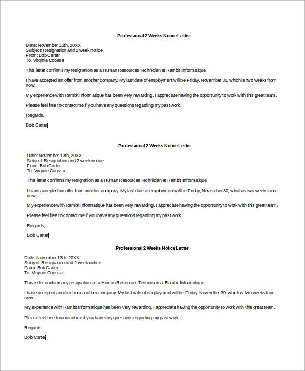 8+ Sample 2 Week Notice Letters Sample Templates
