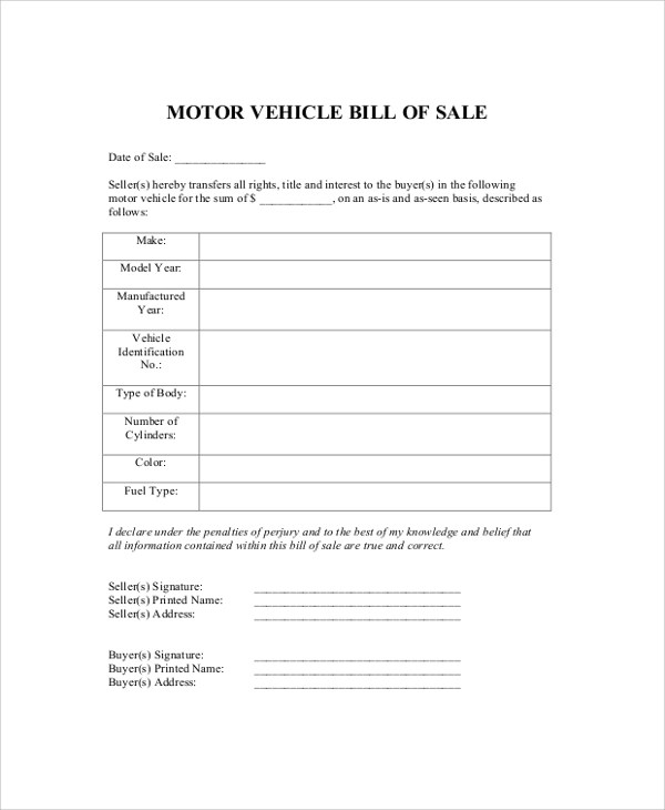 8+ DMV Bill of Sale Samples Sample Templates - automobile bill of sale sample