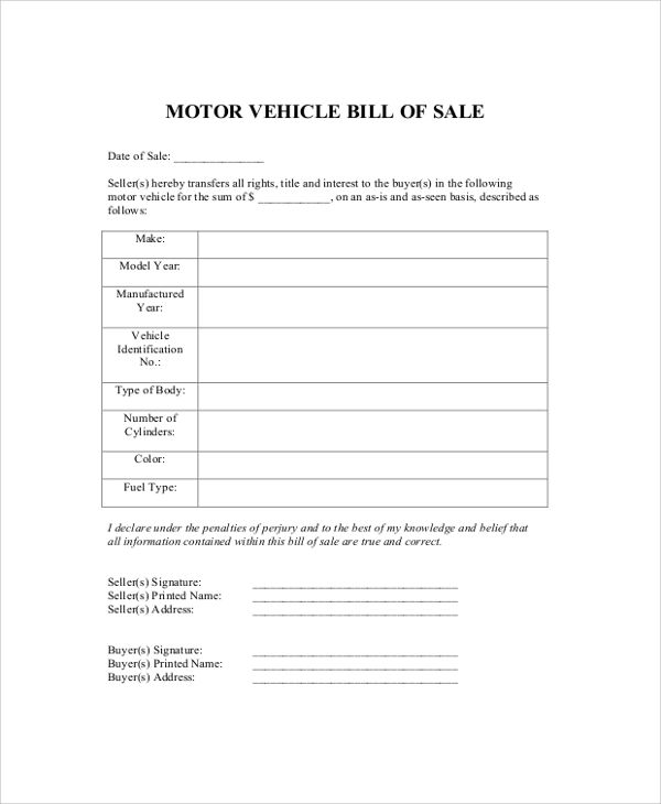 sample bill of sale for a vehicle