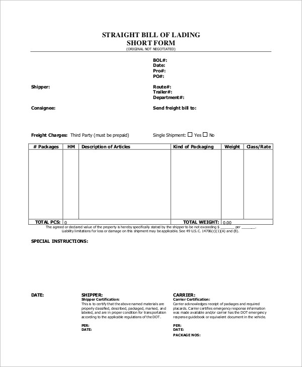 Sample Bill of Lading Form - 8+ Examples in Word, PDF - bill of lading form