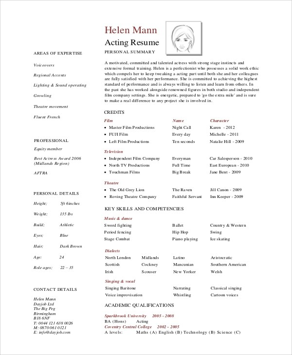 professional actor resumes - Intoanysearch