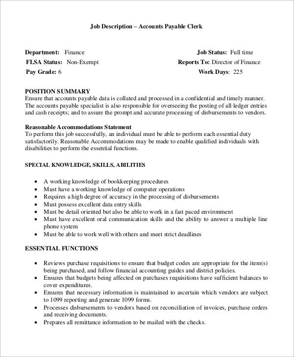 Sample Accounts Payable Job Description - 9+ Examples in Word, PDF - accounting clerk job description