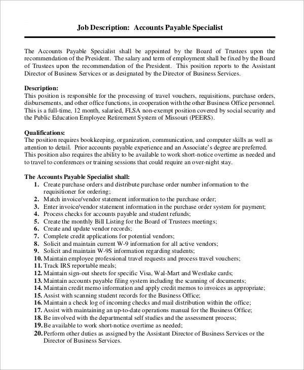 job description for accounts payable specialist - Boatjeremyeaton