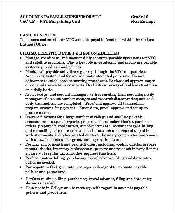 accounts payable manager job description - 28 images - accounts