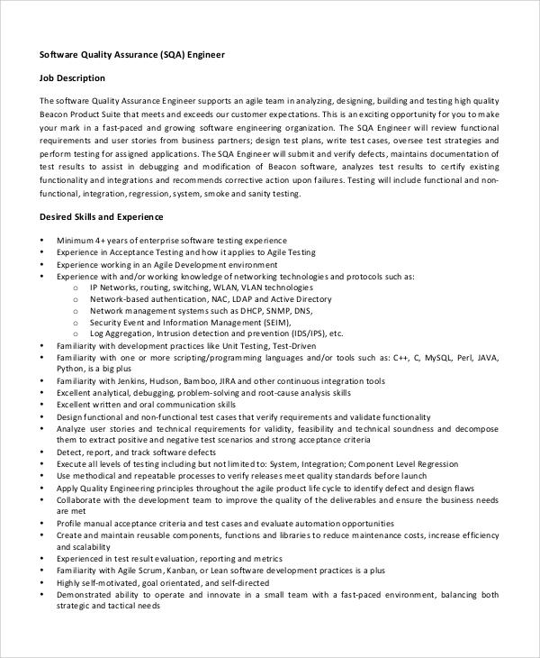 8+ Software Engineer Job Description Samples Sample Templates
