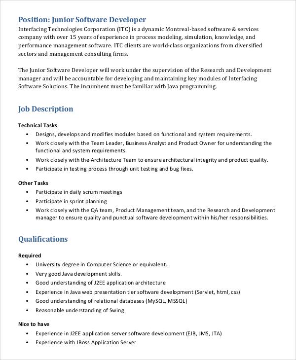 junior software developer job description - Canasbergdorfbib