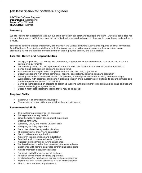 Sample Software Engineer Job Description - 8+ Examples in PDF