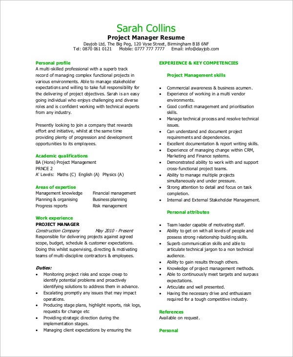8+ Sample Project Manager Resumes \u2013 PDF, Word Sample Templates - technical manager resume example