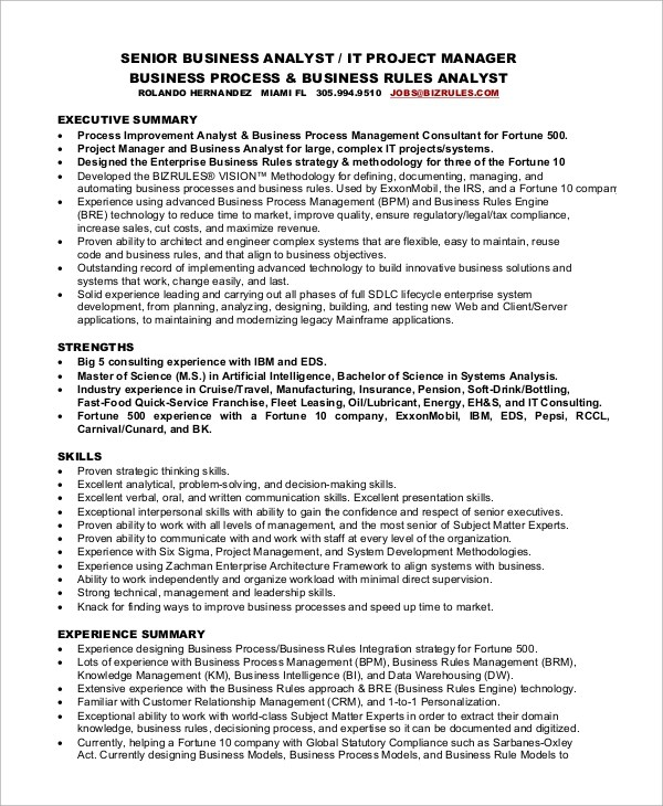 8+ Sample Project Manager Resumes Sample Templates - sr project manager resume