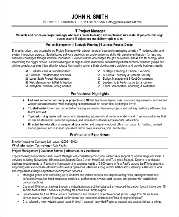 8+ Sample Project Manager Resumes Sample Templates - technical project manager resume