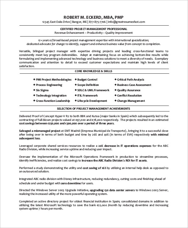 8+ Sample Project Manager Resumes \u2013 PDF, Word Sample Templates - sample project management resume