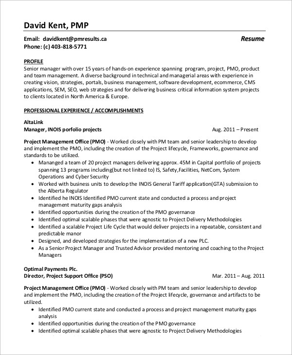 8+ Sample Project Manager Resumes \u2013 PDF, Word Sample Templates