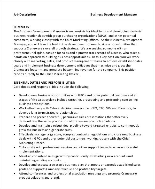 9+ Business Development Job Description Samples Sample Templates - Business Development Manager Job Description