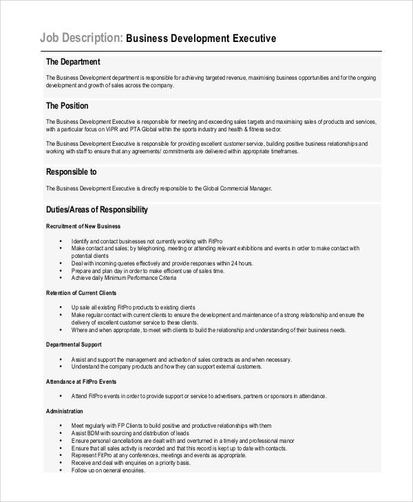 assistant development manager job description