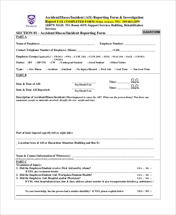 9+ Sample Incident Report Forms Sample Templates - Incident Reporting Form