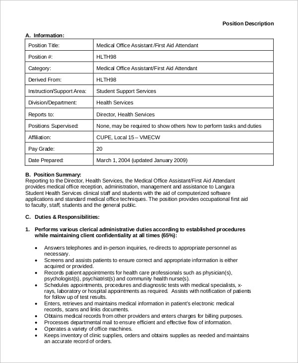 sample medical assistant job description 8 examples in pdf office assistant job description