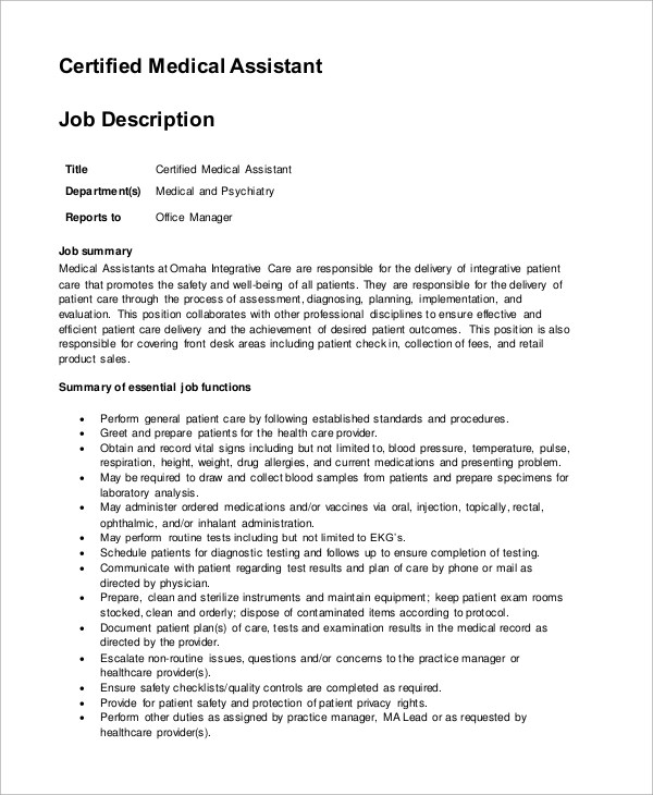 certified medical assistant job description - 28 images - 10 medical - Nursing Assistant Job Description