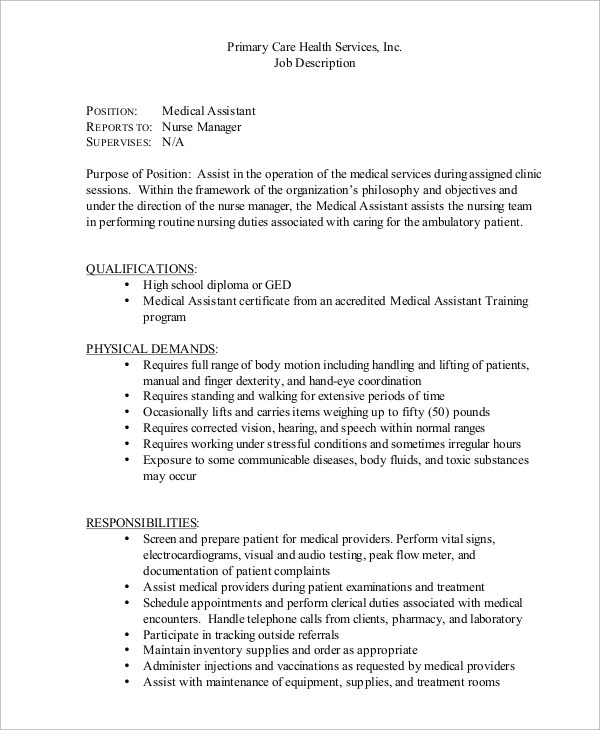 medical assistant job description resume medical assistant job