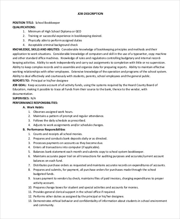 bookkeepers job description bookkeeper job description saint