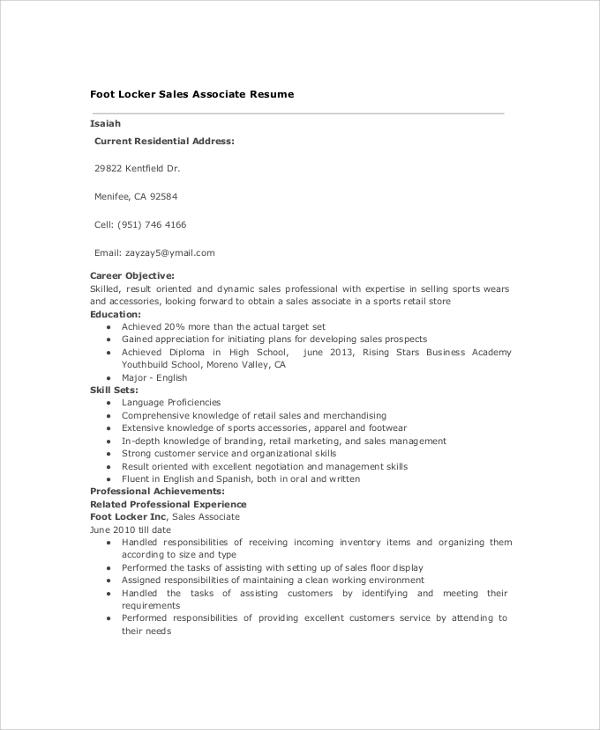 Sample Sales Resume - 9+ Examples in PDF, Word - sample sales associate resume