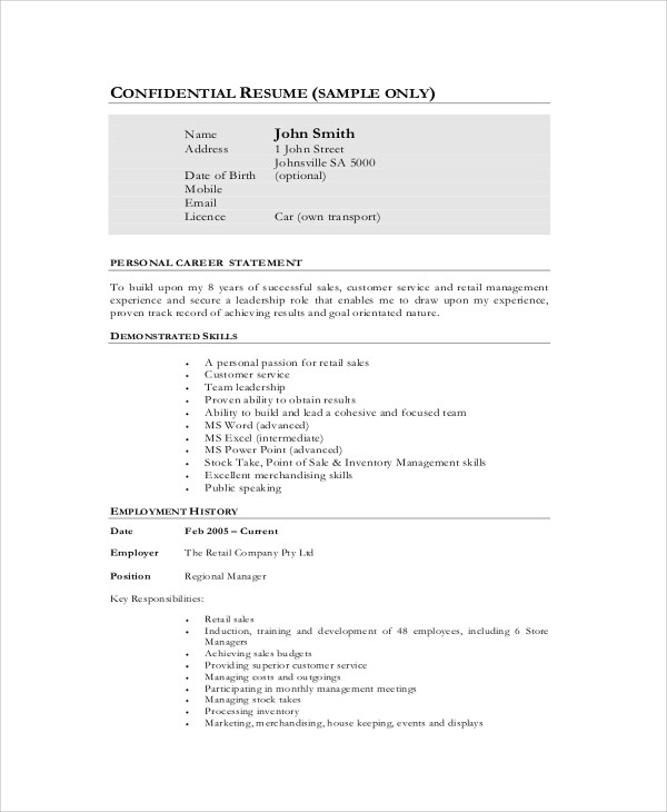 retail sales executive resume