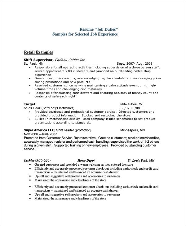 9+ Sample Sales Resumes Sample Templates - resume duties examples