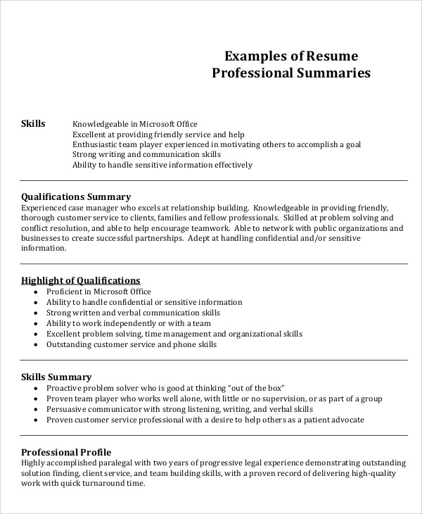 8+ Job Resume Examples Sample Templates - writing a job summary