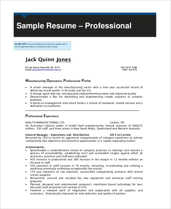 9+ Example Resumes Sample Templates