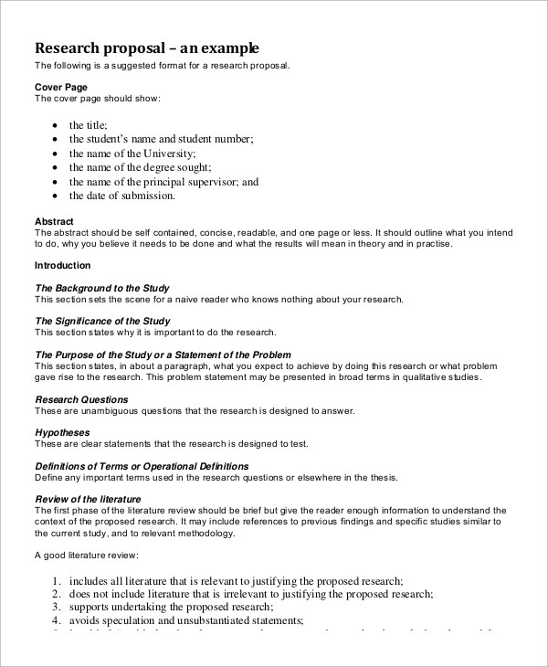 Literature review in research proposal sample \u2013 Essays HUB